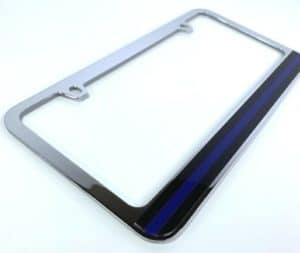 Police Thin Blue Line License Plate Frame - Chrome