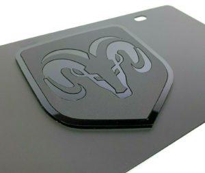 Dodge Ram Emblem Vanity License Plate - Black