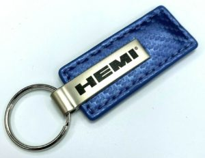 HEMI Keychain - Blue Carbon Fiber Look Leather