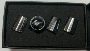Ford Mustang Valve Stem Caps - Tapered Chrome w/ Black