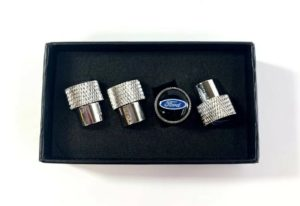 Ford Oval Valve Stem Caps - Knurled Chrome w/ Black