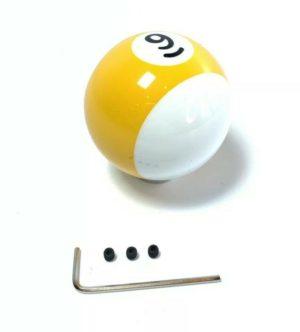 Pool Ball Gear Shift Knob (Stripes Yellow, Number 9)