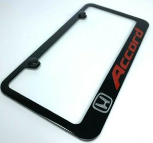 Honda Accord License Plate Frame - Black w/ Silver and Red Logos