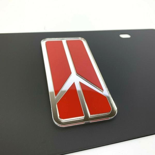 Oldsmobile Rocket Emblem Vanity License Plate - Black