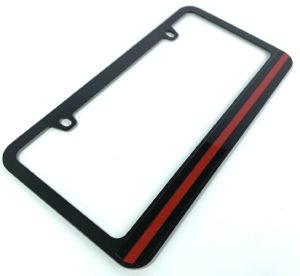 Firefighter Thin Red Line License Plate Frame - Black