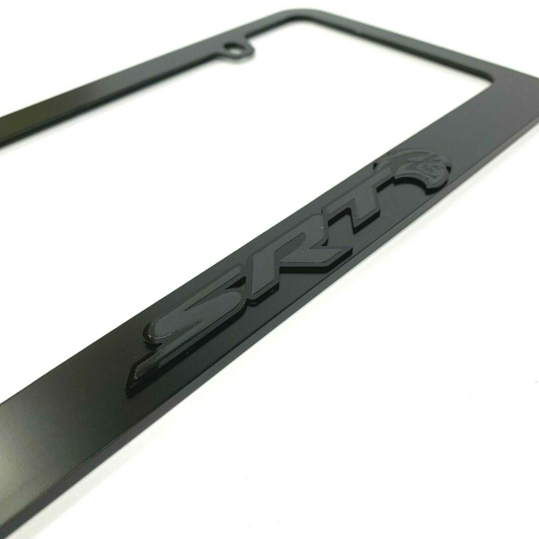 Dodge SRT Hellcat Black License Plate Frame - Black Script & Emblem