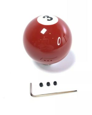 Pool Ball Gear Shift Knob (Red Solids, Number 3)