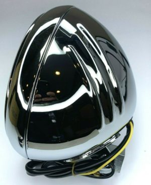 """7"""" Grooved Chrome Motorcycle Headlight Bucket - Fits: Harley"""
