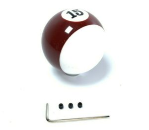 Pool Ball Gear Shift Knob (Stripes Burgundy, Number 15)