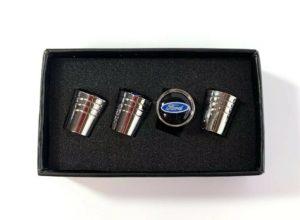 Ford Oval Valve Stem Caps - Tapered Chrome w/ Black