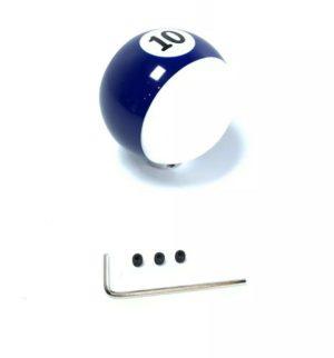 Pool Ball Gear Shift Knob (Blue Stripes, Number 10)