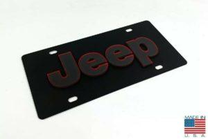 Vanity Black Jeep License Plate - Red Outlined Emblem