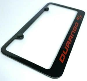 Dodge Durango R/T License Plate Frame - Black w/ Red Script