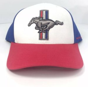 Ford Mustang Hat - Red White and Blue Tri Bar Pony Logo