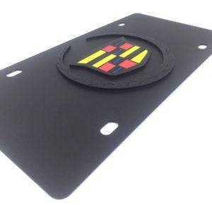 Black Cadillac Vanity License Plate - Black Hood Emblem Crest