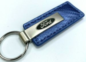 Ford Keychain - Blue Carbon Fiber Look Leather w/ Oval Emblem