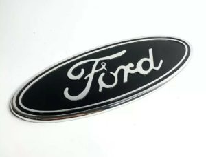 "Premium Front Grille Oval Emblem For 2015-2019 Ford F-150 Pickup - 9.5"" Black & Chrome"