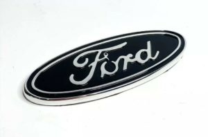 "Premium Billet Aluminum 5"" Inch Rear Ford Oval Emblem - Chrome & Black"