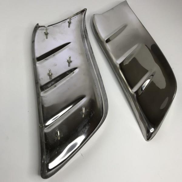Pair Front Gravel Shields for 1953-1954 Chevrolet Car - Stainless