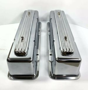 """""""Rocket"""" Finned Aluminum Tall Valve Covers for 1958-86 SBC Chevy - Show Quality"""