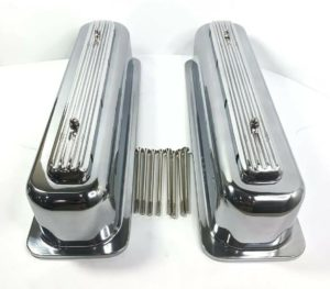 Rocket Finned Aluminum Center Bolt Valve Covers Tall for SBC Chevy - Show Quality