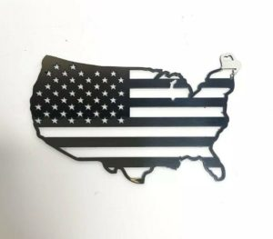 American Flag United States Map Emblem - Polished Stainless Steel