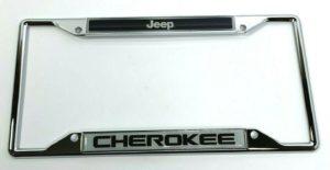 Jeep Cherokee License Plate Frame - Chrome w/ Black