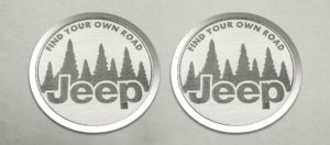 Pair of 2007-2018 Jeep Wrangler Find Your Own Road Badges / Emblem (Stainless Steel)