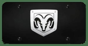 Dodge Ram Vanity License Plate - Black W/ Brushed Emblem