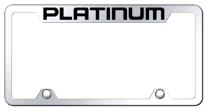 Ford Platinum License Plate Frame - Chrome w/ Black Logo