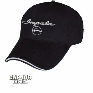 Chevy Impala Hat - Black w/ Chrome Liquid Metal 1964 Emblem