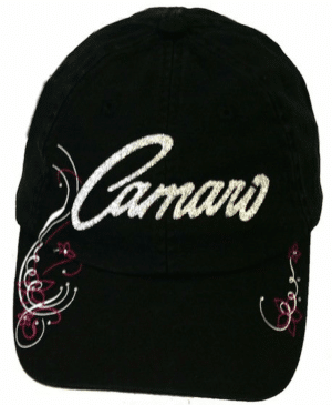 Chevy Camaro Hat - Black w/ Silver & Pink Glitter Lettering