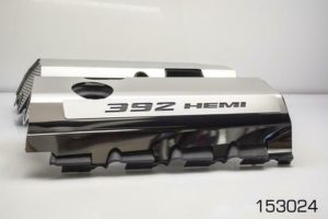 392 HEMI Fuel Rail Covers for 2011-2019 - Polished Stainless Steel w/ Carbon Fiber Inlay