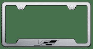 Cadillac V License Plate Frame - Brushed w/ Black Logo