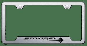 Chevy C7 Corvette Stingray License Plate Frame - Brushed w/ Black Logo