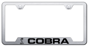 Shelby Cobra License Plate Frame - Brushed w/ Black Logo & Notched Corners