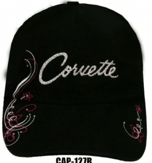 Chevy Corvette Hat - Black w/ Silver & Pink Glitter Lettering