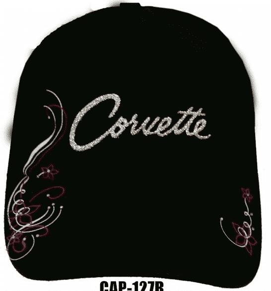 Chevy Corvette Hat - Black w/ Silver & Pink Glitter Lettering