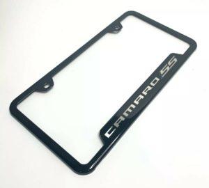 Chevy Camaro SS License Plate Frame - Black w/ Silver Logo