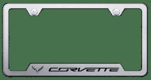 Chevy C7 Corvette License Plate Frame - Brushed w/ Black Logo