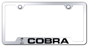 Shelby Cobra License Plate Frame - Chrome w/ Black Logo & Notched Corners