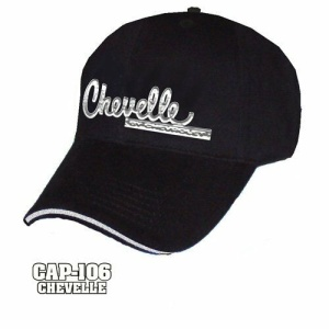Chevy Chevelle Hat - Black w/ Chrome Liquid Metal Emblem