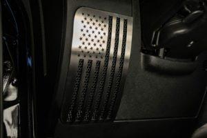 Jeep Wrangler Speaker Covers - Stainless Steel American Flag Design for 2007-2018