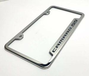 Chevy Camaro SS License Plate Frame - Chrome w/ Black Logo