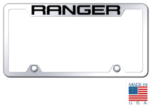 Ford Ranger License Plate Frame - Chrome w/ Black Logo