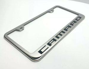 Chevy Camaro License Plate Frame - Chrome w/ Black Logo