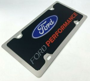 Ford Performance License Plate - Polished Stainless Steel w/ Black Acrylic Emblem
