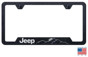 Jeep License Plate Frame - Black w/ Silver Mountain Logo