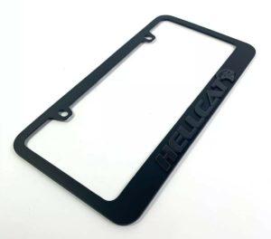 Dodge Charger & Challenger Hellcat Black License Plate Frame - Black Script