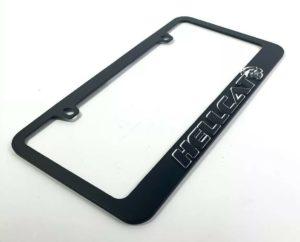 Dodge Challenger & Charger Hellcat Black License Plate Frame - Mirror Script